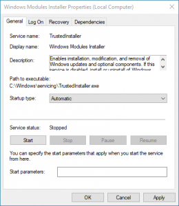 Windows Modules Installer Starttyp